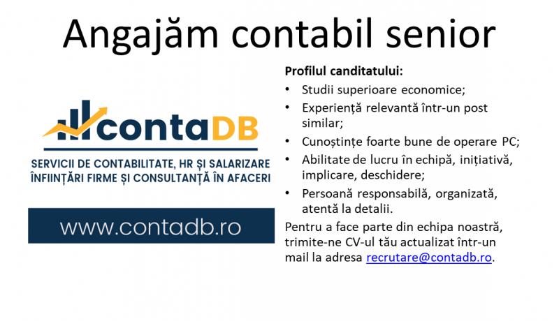Angajăm contabil senior Contabil cu experiență