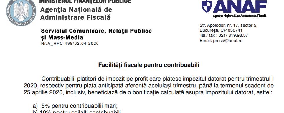 facilitati fiscale, bonificati satre de urgenta